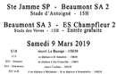 Agenda Sportif  :  9/10 Mars 2019